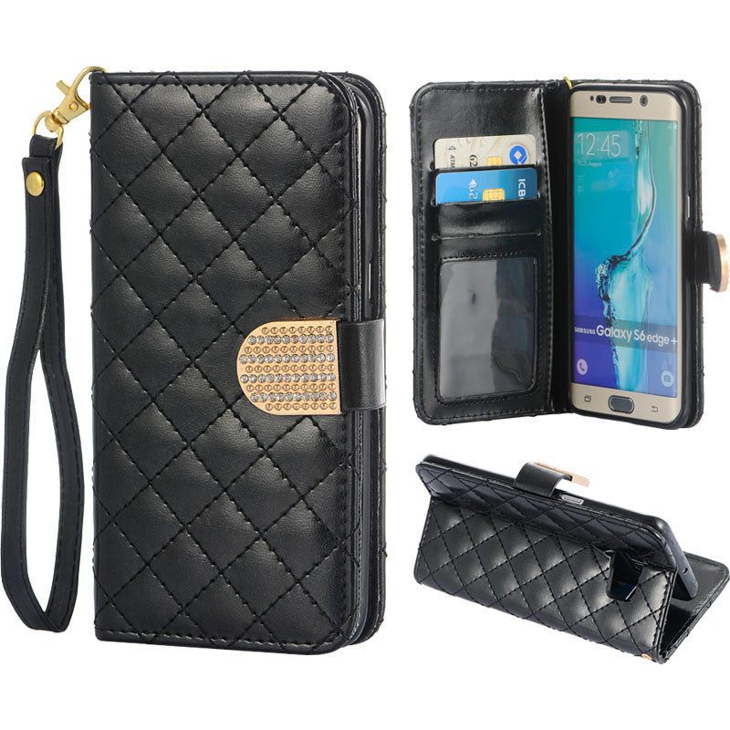 Samsung Galaxy S6 Edge Plus Shiny Quilt Wallet Pouch