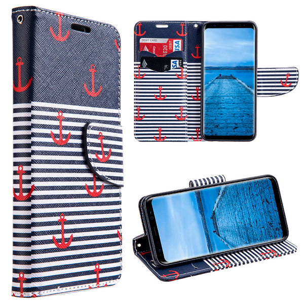 Samsung Galaxy Trendy Anchor Leather Flip Wallet Case