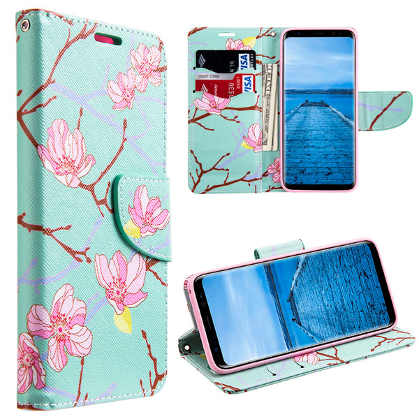 Samsung Galaxy Trendy Japanese Blossom Leather Flip Wallet Case