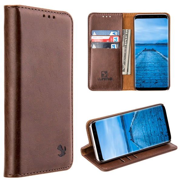 Samsung Galaxy Luxury Gentleman Magnetic Flip Leather Wallet Case - Brown