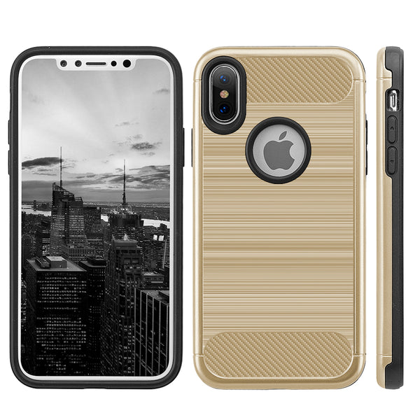 Apple iPhone X Carbon Tech Silk Hybrid PC + TPU Cover Case