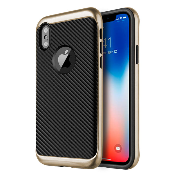 Apple iPhone X Tough Elegance Hybrid Case With Black Silk TPU + Colored PC Frame