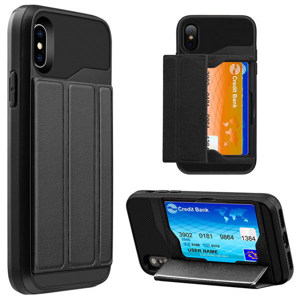 Apple iPhone X Hybrid Convenient Card Case With Magnetic Tri-Fold Cover