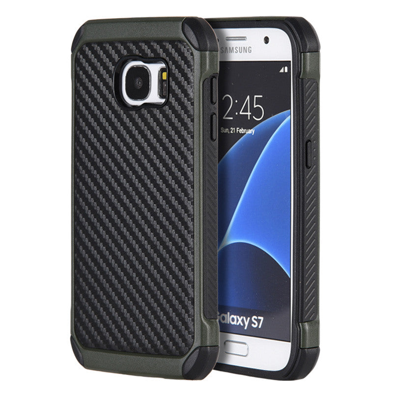 Samsung Galaxy S7 Tough Hybrid Case TPU + PC With Carbon Fiber Finish