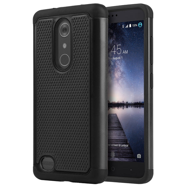 ZTE Zmax Pro Grippy Hybrid Case TPU + PC