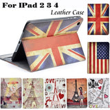 Apple - IPad 2/3/4 Vintage Paint Design Leather Case