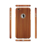 Slim 360 Protection Wood Grain iPhone Case w/Tempered Glass