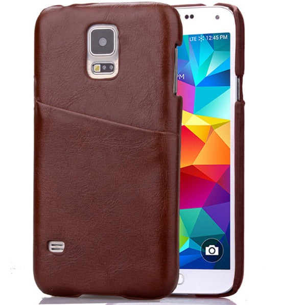 Leather Grain Back Cover Galaxy Case w/Card Slot