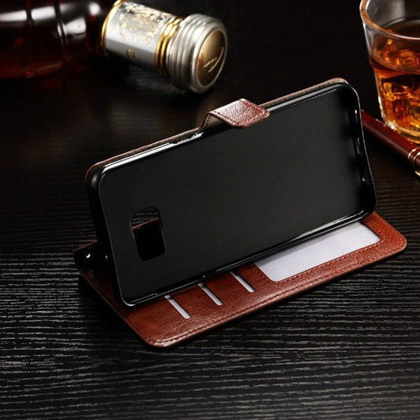 Leather Samsung Case With Wallet and Stand