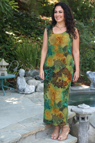 plus size print maxi tank dress
