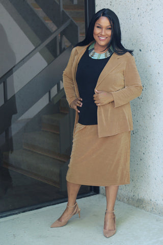 plus size camel skirt and blazer