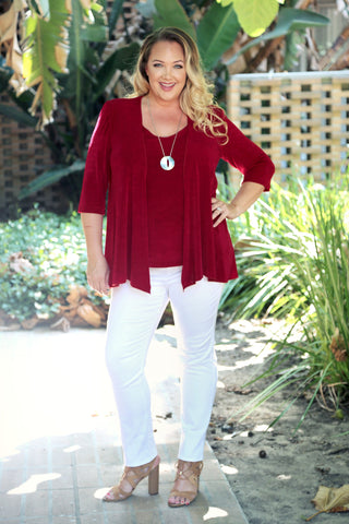 red plus size deep scoop neck top