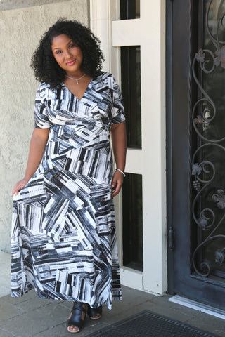 print plus size faux wrap maxi dress