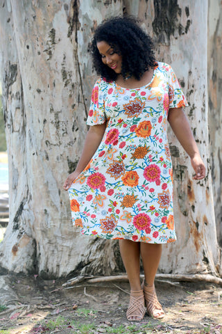 6bf31d5bbbfb plus size print t shirt style dress A beach wedding guest ...