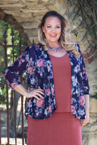 plus size print jacket