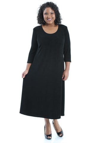 plus size black a line maxi dress