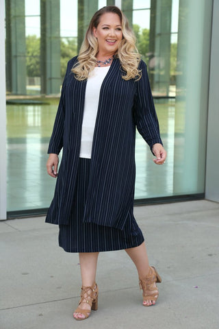 plus size navy pinstripe suit