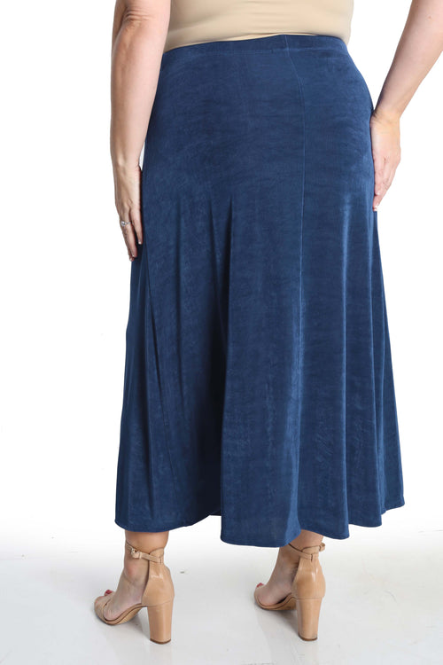 Vikki Vi Classic French Blue Long A-Line Maxi Skirt