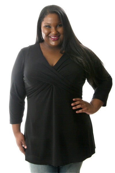 Vikki Vi Jersey Black Cross Over Tunic
