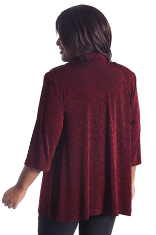 Vikki Vi Classic Embossed Animal 3/4 Sleeve Kimono Jacket