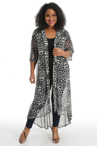 Allegra in a sheer animal print robe
