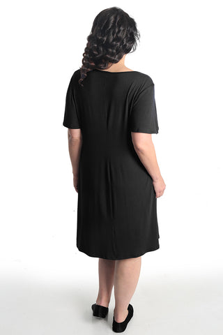 Vikki Vi Black Bamboo Lounge T- Shirt Dress