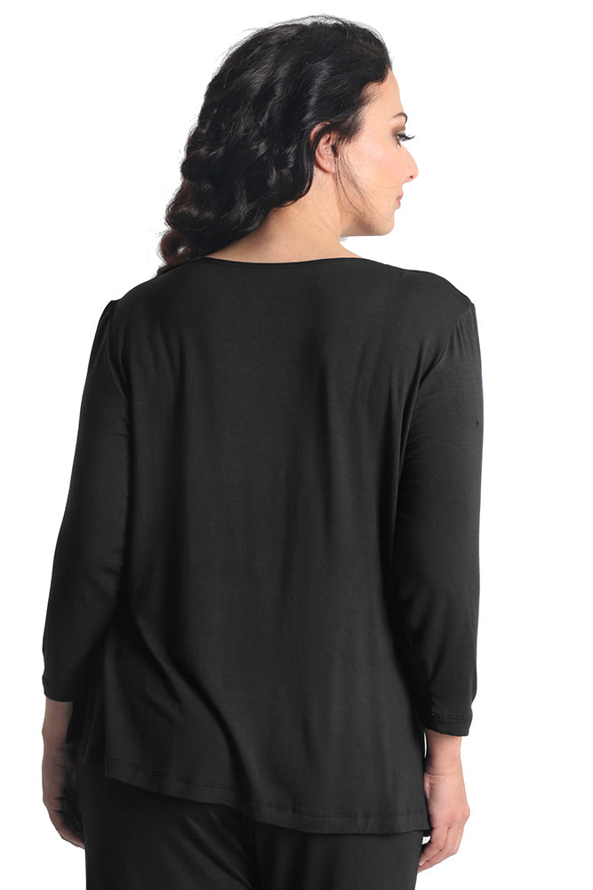 Vikki Vi Black Bamboo Lounge V-Neck Long Sleeve Tunic