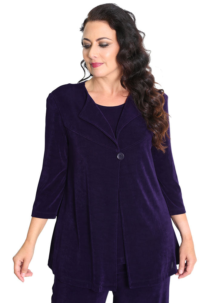 Vikki Vi Classic Black Plum Swing Jacket