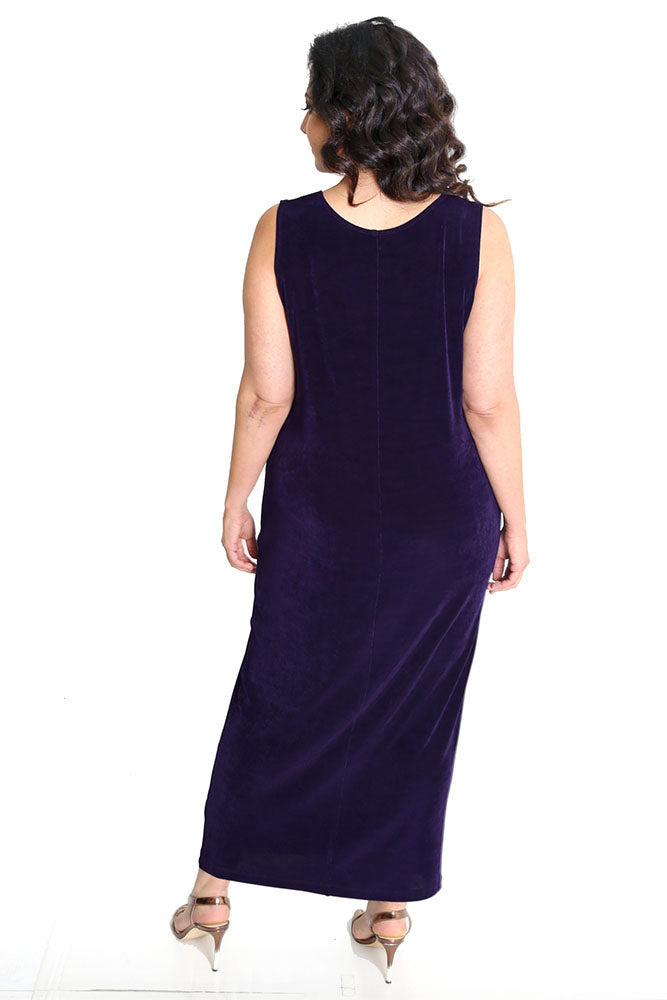 Vikki Vi Classic Black Plum Sleeveless Maxi Tank Dress