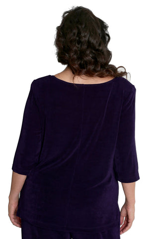 Vikki Vi Classic Black Plum Deep Scoop Neck Top