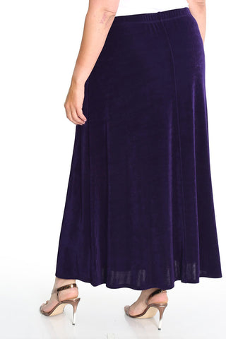 Vikki Vi Classic Black Plum Long A-Line Maxi Skirt