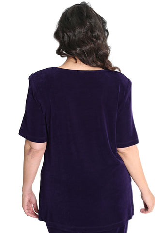 Vikki Vi Classic Black Plum V-Neck Short Sleeve Tunic
