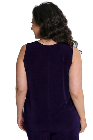 Vikki Vi Classic Black Plum Sleeveless Shell