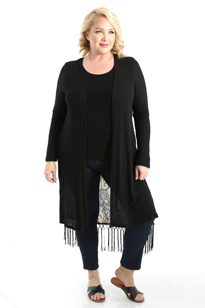 Oddi Black Ikat Open Cardigan