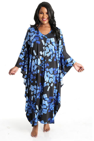 Allegra in a blue print caftan