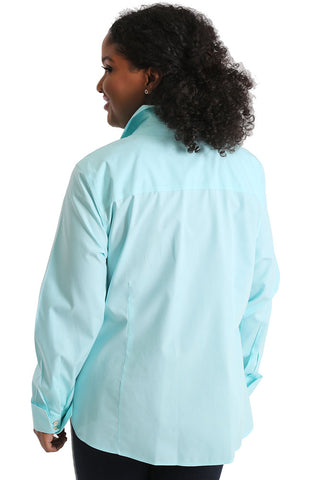 Foxcroft Lauren Plus Seabreeze Pinpoint Shirt