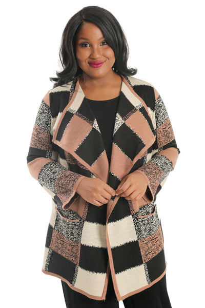 Divas Limited Box Plaid Sweater Cardigan