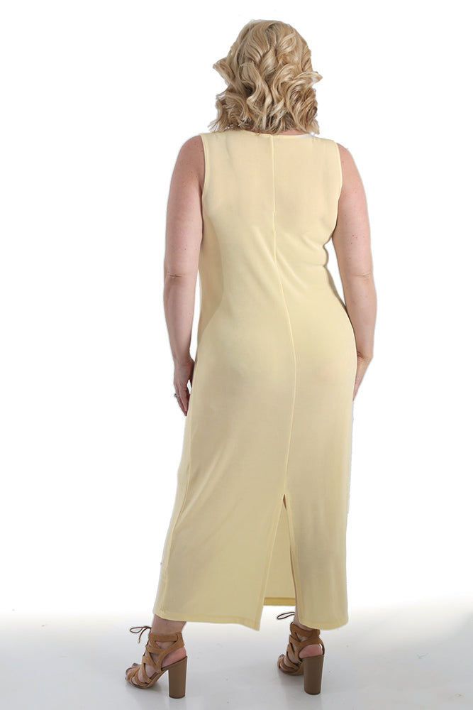 Vikki Vi Classic Butter Jewel Neckline Maxi Dress
