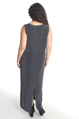 Vikki Vi Classic Charcoal Jewel Neckline Maxi Dress