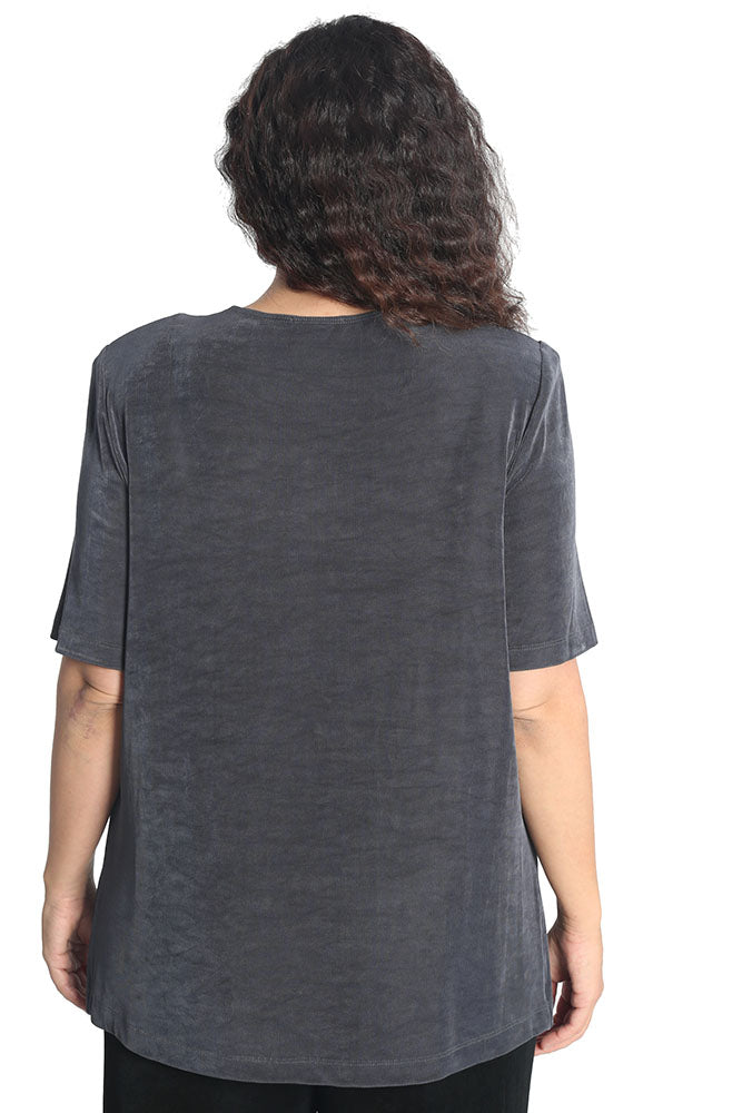 Vikki Vi Classic Charcoal Short Sleeve Tunic