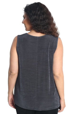 Vikki Vi Classic Charcoal Sleeveless Shell