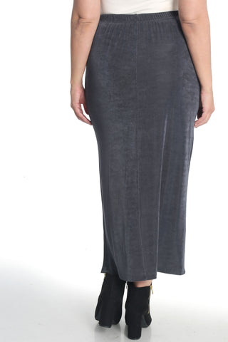 Vikki Vi Classic Charcoal Side Slit Straight Maxi Skirt