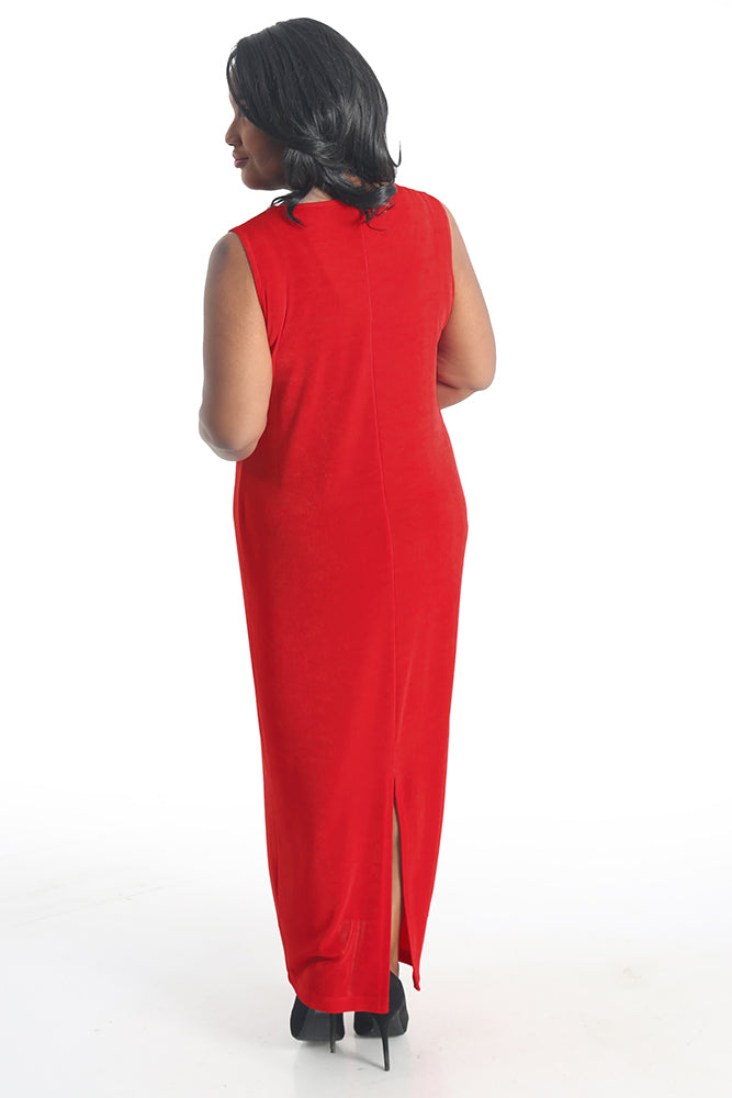 Vikki Vi Classic Red Jewel Neckline Maxi Dress