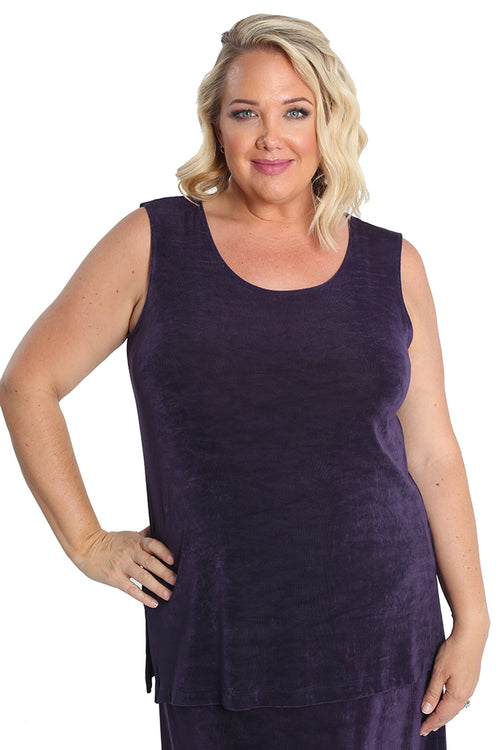 Vikki Vi Classic Concord Purple Sleeveless Tunic
