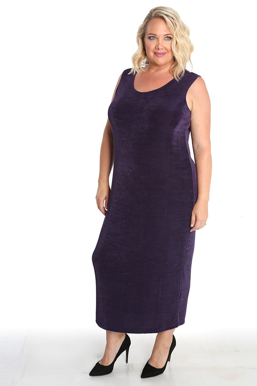 Vikki Vi Classic Concord Purple Sleeveless Maxi Tank Dress