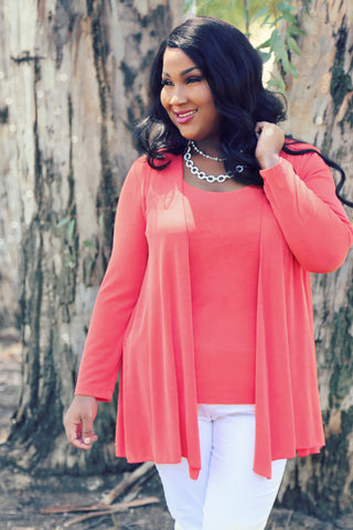 coral plus size swing cardigan