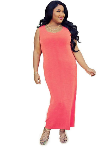 coral plus size maxi tank dress