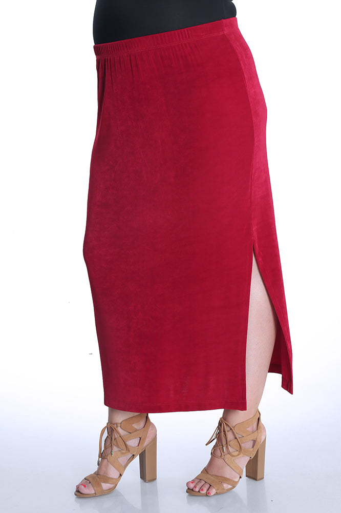 Vikki Vi Classic Crimson Side Slit Straight Maxi Skirt