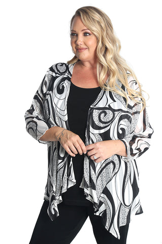 Vikki Vi Black Darla Sheer Swing Cardigan
