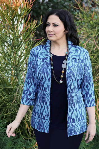 Vikki Vi Jersey Denim Ikat Notch Collar Jacket